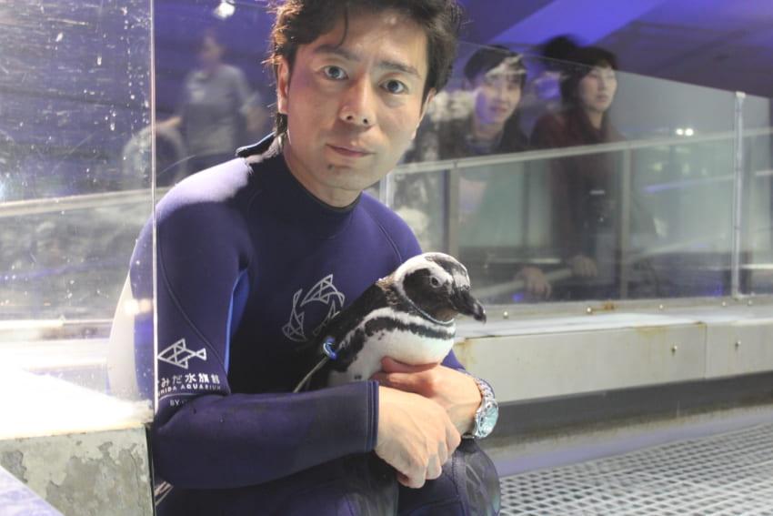 すみだ水族館飼育スタッフ芦刈さんと、芦刈さんに恋するペンギン「タイコ」。