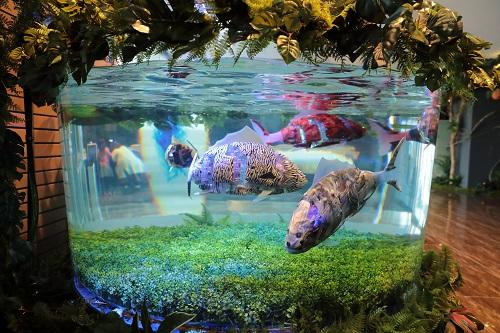 東京ディズニーリゾートからすぐの変なホテル舞浜東京ベイのフロントではお魚ロボットが癒してくれます