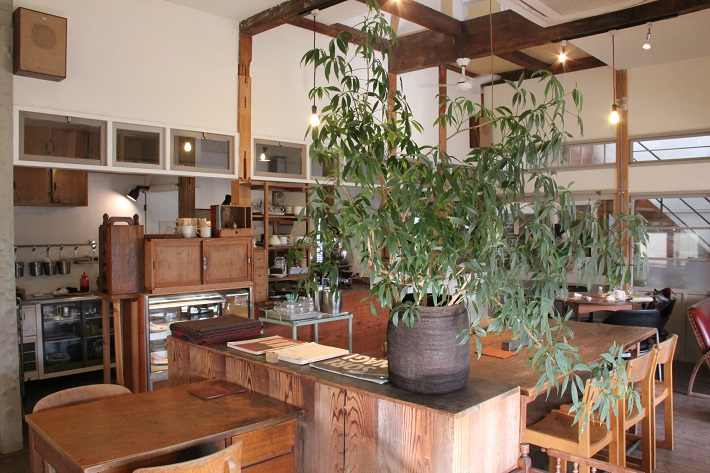 個性豊かなお店が集まる「KAWAGUCHI SHINMACHI」のカフェ「senkiya」の内観。大胆に配されたグリーンが印象的。