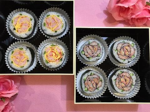 薄焼き卵やハムを使ってバラの飾り巻き寿司