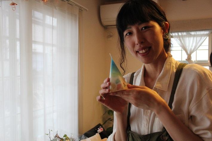 こだわりのキャンドルを作る松本祥子さん