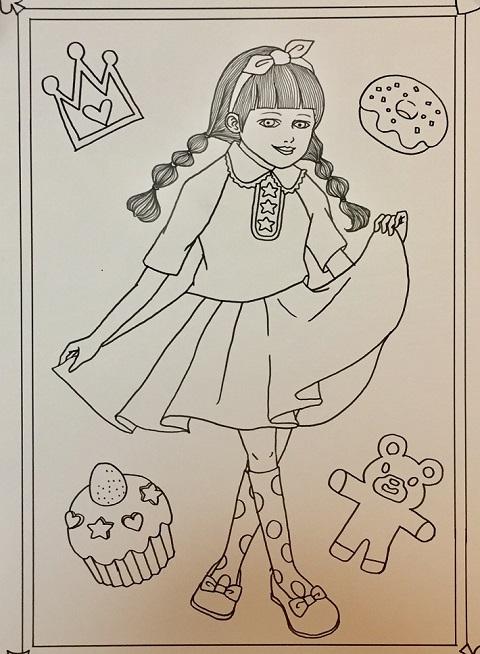 女の子イラスト線画