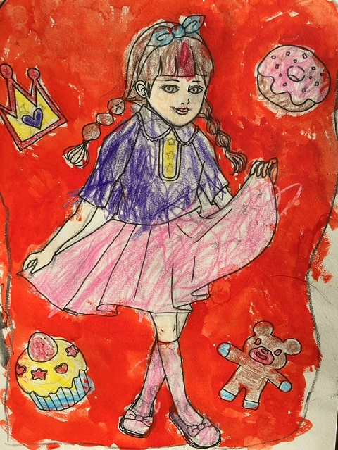 ドコモ未来ミュージアム最優秀賞の小牧楓花ちゃんの色塗り