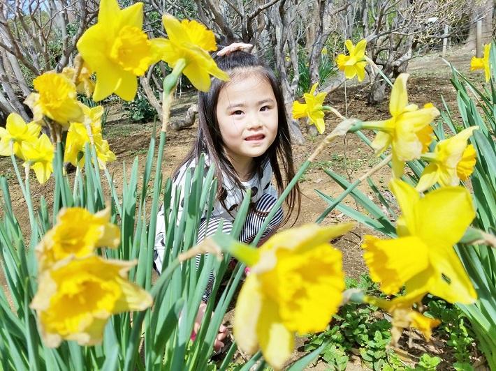 子供と花を撮影するときは花を手前にする構図もおすすめ
