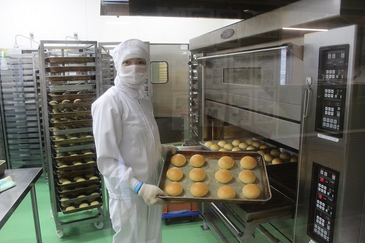八天堂のくりーむパンの成型ライン。ふっくら焼きあがりました!