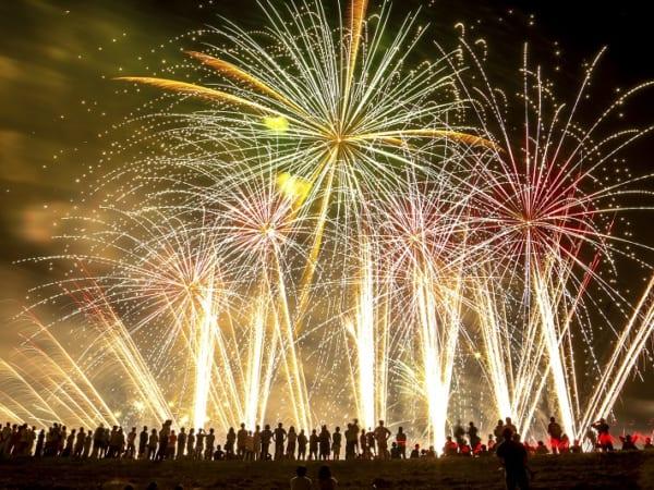 埼玉県三郷市の花火大会は対岸で同日開催の流山花火大会と合わせて14,000発の花火が打ち上がります