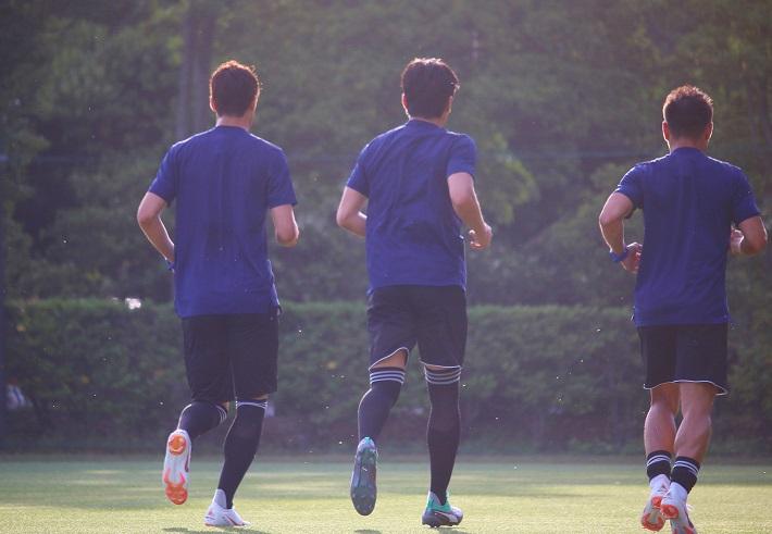 2018サッカー日本代表選手のトレーニング風景
