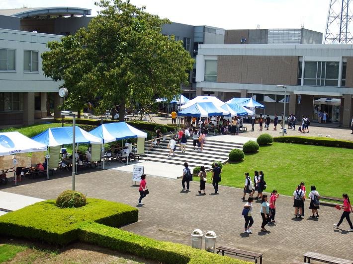 埼玉県さいたま市岩槻区の目白大学で、約60m1000食の「流しそうめん」