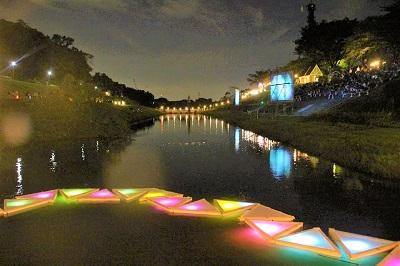 利根運河の夜に光と水のアートの祭典 利根川シアターナイト2018 LIGHT THE TOWN