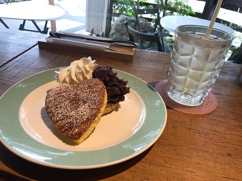 船橋市「古民家カフェコピエ」人気のパンケーキはハート型でかわいい