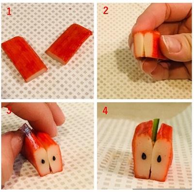かにかまを使ったリンゴの作り方