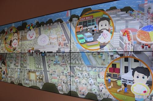 中華まんミュージアムの壁面メディアアートなど楽しい仕掛けがいっぱい