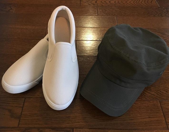 運動会コーデ靴帽子