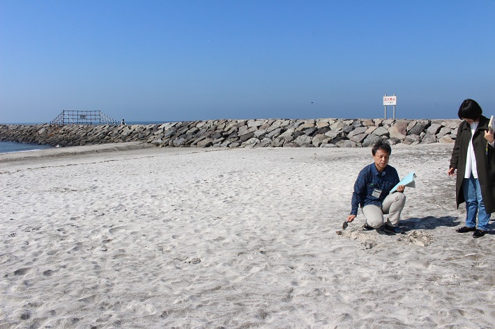 白い砂浜は稲毛海岸