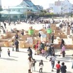 木更津こどもまつりで木更津第一小校庭に作られる段ボール迷路
