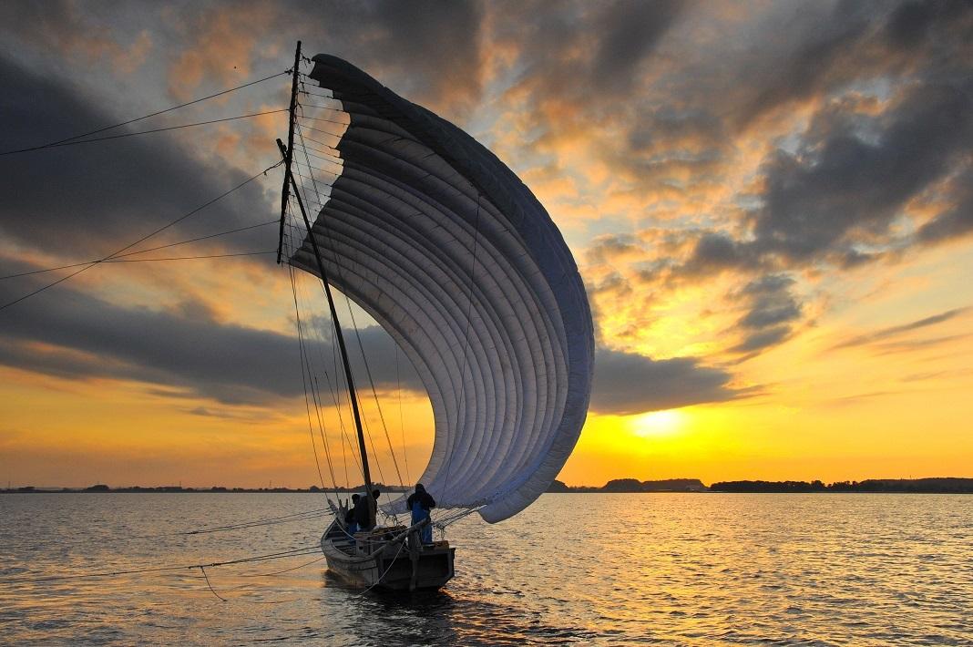 霞ヶ浦の湖面を渡る風を受け進む「帆引き船」