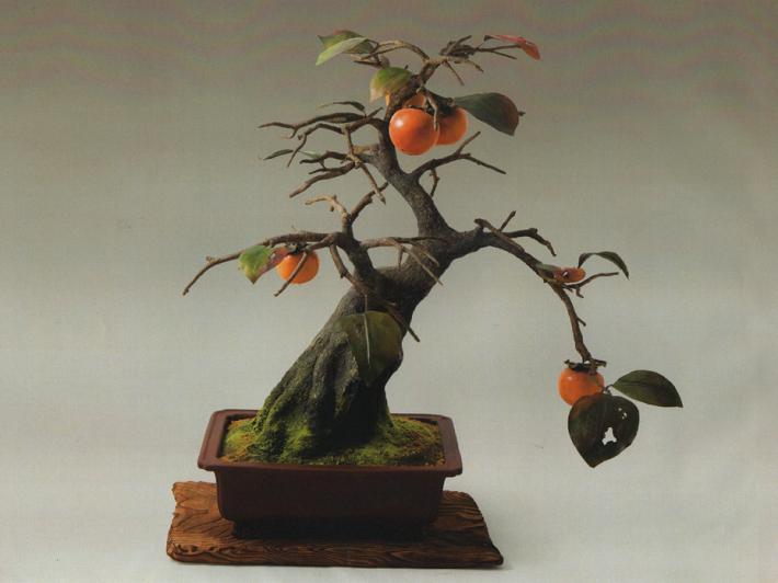 工芸ぼんさいの柿