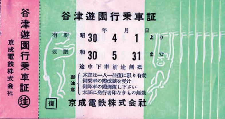 ★谷津遊園行乗車証(昭和30年)