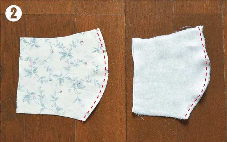 手作り布マスクの表地と裏地の縫い合わせ方