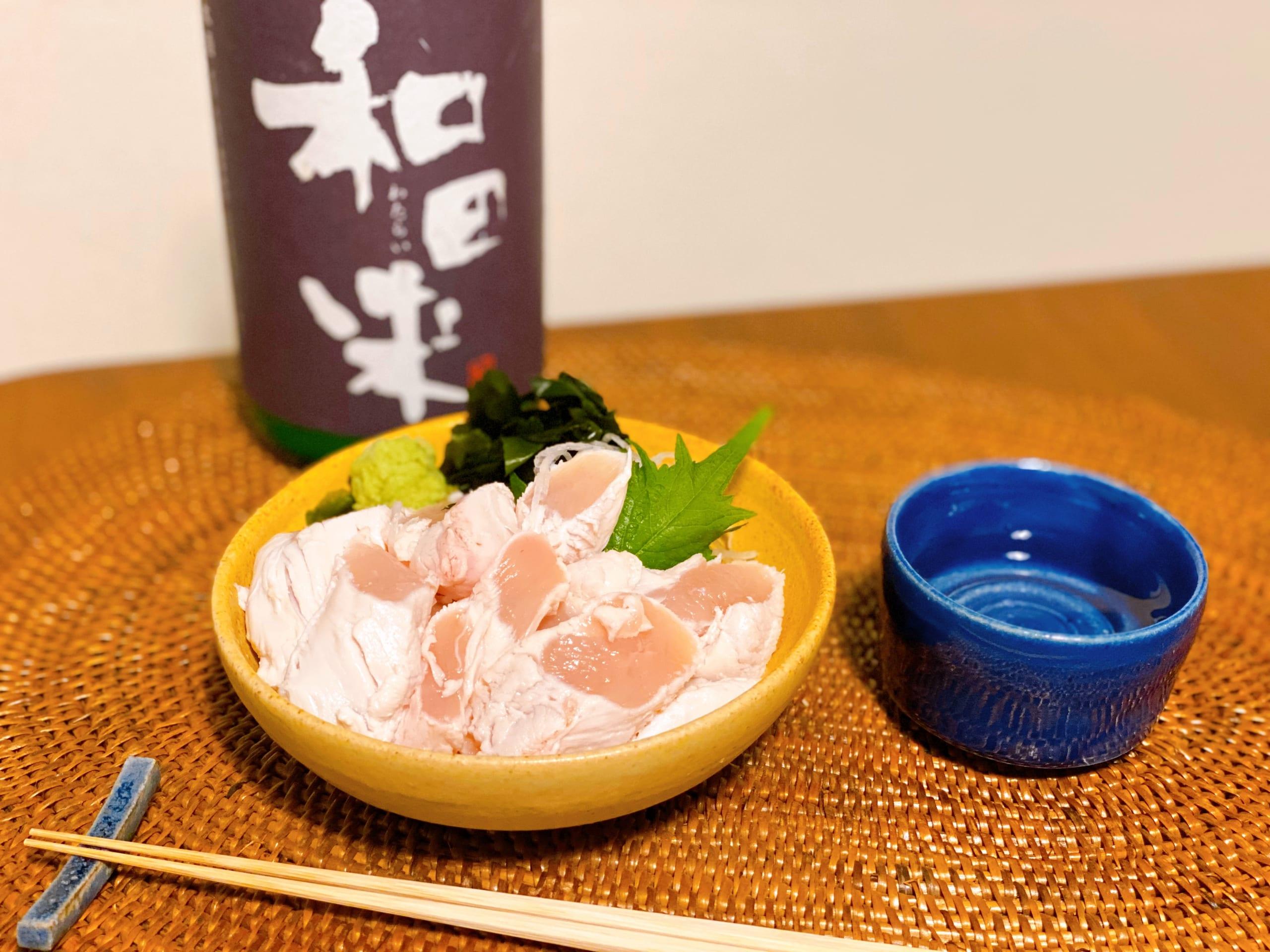日本酒に合う岩手県産十文字鶏のとりわさをテイクアウトして家飲み