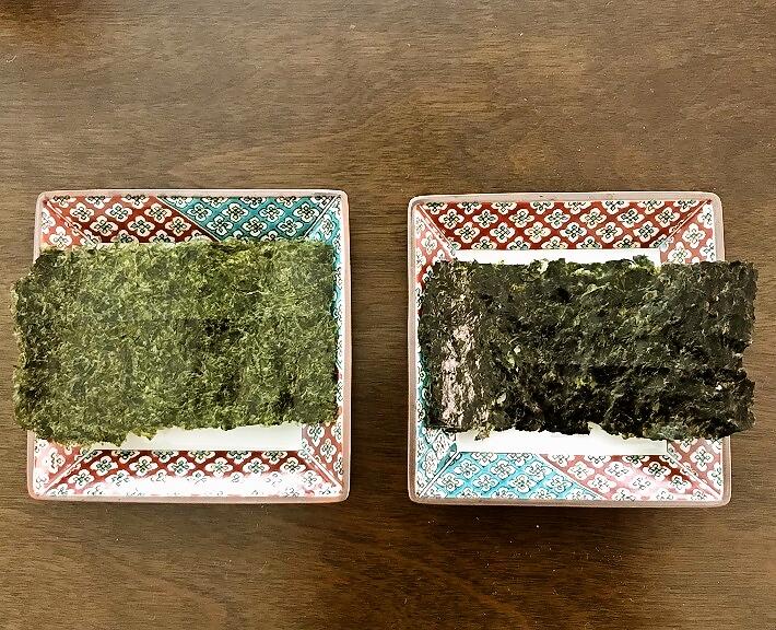 1等と4等の海苔の比較